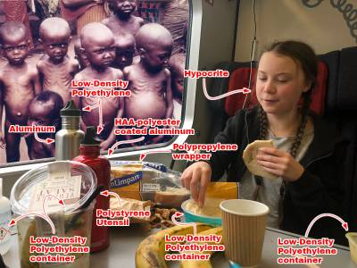 Greta Thunberg eating lunch, with plastic utensils and a bunch of climate-unfriendly containers